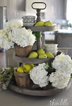 Kitchen Decor Weathered Gray Tiered Fruit and Flower Stand - Farmhouse kitchen design tugs at the heart as it lures the senses with elements of an earlier, simpler time. See the best decoration ideas! Country Decor, Rustic Decor, Rustic Table, Country Style, French Country, Rustic Backdrop, Rustic Chair, Rustic Signs, New Kitchen