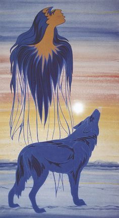 """Spirit Of The Wolf by Maxine Noel, Santee Oglala Sioux. Maxine Noel signs her artwork with her Sioux name IOYAN MANI, which translates as """"Walk Beyond"""". Native American Artwork, Native American Artists, Canadian Artists, Native American Indians, Native Americans, Claudia Tremblay, Goddess Art, Indigenous Art, Aboriginal Art"""