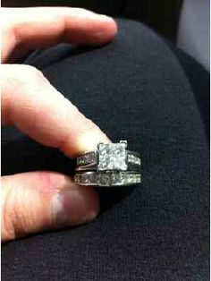 His Hers Silver Engagment Wedding Trio Ring Set Rings Pinterest And