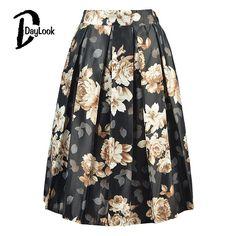 Vintage Black Floral Fashion Skirts Women
