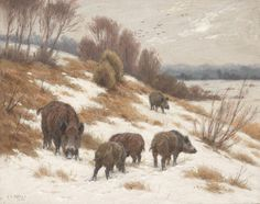 Georges-Frédéric Rötig, Wild Boars in the Snow, gouache