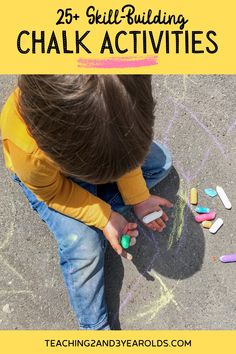 You will love these chalk activities for preschoolers! Everything from using them with art, in the sensory bin, and as part of a science activity. Fun and playful ideas! #chalk #play #outdoors #finemotor #art #preschool #toddler #age2 #age3 #teaching2and3yearolds Motor Activities, Science Activities, Summer Activities, Toddler Fun, Toddler Preschool, Toddler Activities, Lasso The Moon, Time Planner, Make A Game