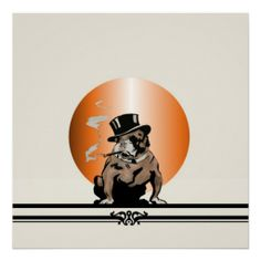 Vintage bulldog with a tophat