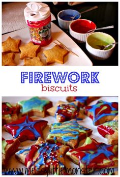 Easy baking for kids- firework biscuits made using a simple biscuit recipe decorated using coloured icing and sprinkles. Great for toddlers and preschoolers as well as older kids. a fun bonfire night, new years eve or birthday baking activity idea. Bonfire Night Menu, Bonfire Night Activities, Bonfire Night Celebrations, Bonfire Cake, Bonfire Night Crafts, Bonfire Night Food, Campfire Cake, Autumn Activities, Easy Baking For Kids