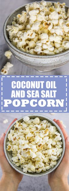Coconut oil and sea salt popcorn - Mercedes . - Coconut oil and sea salt popcorn Make a batch of this popcorn the next time you watch a movie! Easy and delicious and no added chemicals or preservatives! Detox Recipes, New Recipes, Vegan Recipes, Snack Recipes, Salted Popcorn Recipes, Healthy Popcorn Recipes, Easy Recipes, Homemade Popcorn, Amazing Recipes