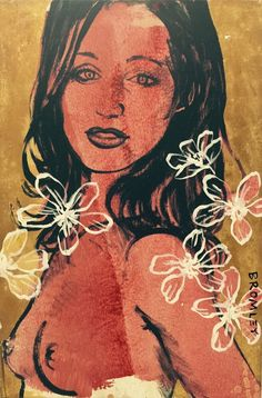 DAVID BROMLEY Nude  Gillian  Polymer & Gold Leaf on Canvas 90cm x 60cm