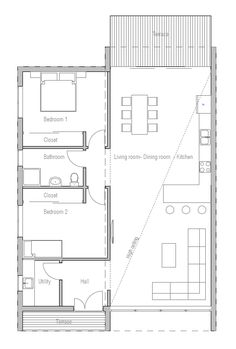 Small house plan with large windows, two bedrooms, open planning, modern architecture.
