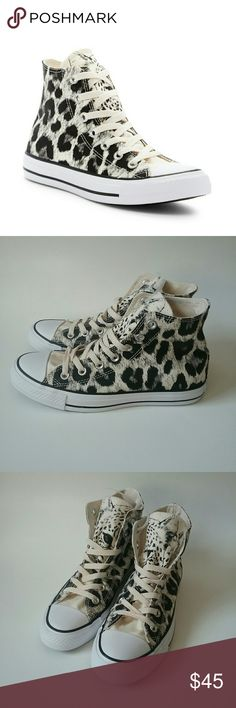 Converse Chuck Taylor Cheetah Print Hi Tops 7.5 NWT Converse Chuck Taylor All Star Animal Cheetah Print High Tops Black/Ivory/White Ivory Laces Size: 7.5 Women's Converse Shoes Sneakers
