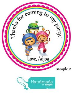 Personalized Team Umizoomi stickers - Themed Party Favors-Custom Personalized Birthday Party Favor Stickers, Treat Tags Bag, Toppers, Easy PEEL and STICK backing -Each 2.5 inches- from Custom Party Favors, Handmade Craft , and Educational Products http://www.amazon.com/dp/B01E49LL1Y/ref=hnd_sw_r_pi_dp_GeTfxb1S2V75S #handmadeatamazon