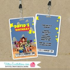 Toy Story VIP Backstage Pass Invitations with your child's photo or not. Custom made to match your theme party decor. Toy Story Invitations, Vip Pass, Backstage, Party Themes, Girly, Toys, Children, Birthday, Women's