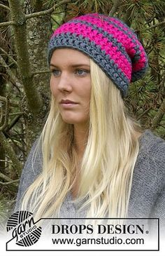 Ravelry: 0-1031 Hat with stripes pattern by DROPS design--uses super bulky yarn