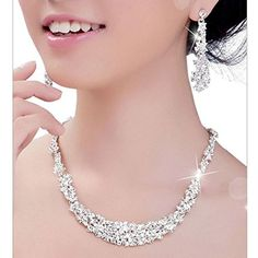 Malloom Elegant Crystal Bridal Jewelry Necklace Drop Earrings Set *** More details can be found by clicking on the image. #HairPins