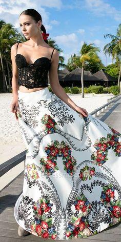 09be564fd53 Mix Black Lace Bustier Crop Top and Floral Print Skirt Evening Dress by  Tarik Ediz