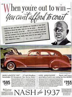 Vintage Advert - Nash Lafayette 400 & Ambassador Motor Cars for 1937 - Life Vol 1 No1 Nov 1936 by CharmaineZoe, via Flickr