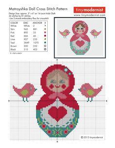 Free Matryoshka (Babushka) Russian Nesting Doll Cross Stitch Chart or Hama Perler Bead Pattern
