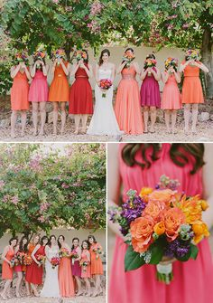 Colorful Multicultural Wedding pink and red bridesmaid dresses wedding chicks Dresses Spring Bridesmaid Dresses, Red Bridesmaids, Beautiful Bridesmaid Dresses, Bridesmaid Dress Colors, Wedding Bridesmaid Dresses, Marie Laporte, Multicultural Wedding, Wedding Colors, Wedding Themes