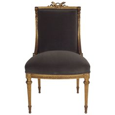 French Giltwood Vanity Chair in Louis XVI-Style | From a unique collection of antique and modern chairs at https://www.1stdibs.com/furniture/seating/chairs/