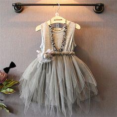 Cotton Lace Gray Puff Girls Princess Dress Noble Atmospheric Tide Fan Children Dresses for Girl christmas dress children clothes
