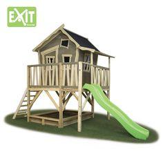 Kinder-Spielhaus EXIT Crooky 550 Holz-Stelzenhaus auf großer Platform - Liebevoll gestaltetes, vorgebeiztes Stelzenhaus mit großer Rutsche und Sandkasten.