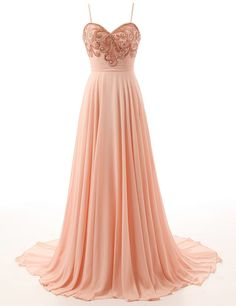 Peal Pink Prom Gown, Soft Comfortable Chiffon, Spaghetti Straps Prom Gown, High Quality Prom Dress