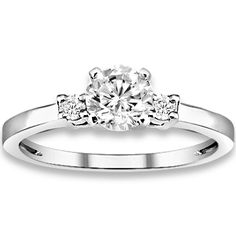 0.60 ctw 14k WG Natural H-I Color, SI Clarity, Accent Diamonds Engagement Ring
