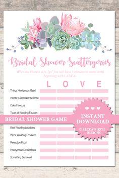 bridal shower scattergories bridal shower game floral and blush bridal tea garden party bohemian instant download printable