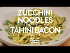Zucchini Noodles Drizzled in Tahini Bacon Sauce | PaleoHacks