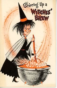 Vintage Halloween Greeting Card with Witch Stirring Caldron Illustration / Paramount Retro Halloween, Spooky Halloween, Vintage Halloween Images, Halloween Prints, Halloween Items, Halloween Pictures, Holidays Halloween, Halloween Costumes, Halloween Makeup