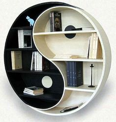 If your house is modern and young and has a very minimalistic design, you can think of a special design for your bookshelf. So maybe you will like my suggestion and build yourself a bookshelf that looks like the Chinese symbol of Yin and Yang. This is the symbol of perfection and it is colored in black and white. SO I guess it will be perfect for both a man's and a woman's living room. Besides the nice look it will also suggest perfect harmony and knowledge.