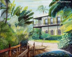 A Spanish Colonial located at 907 Whitehead Street, Key West this unique house was home to one of America's most honored authors, Ernest Hemingway.  Besides being one of my favorite authors, the Hemingway House represents the best of old Key West. I have sailed, fished and dove these waters for more than 25 years. This painting takes me home.