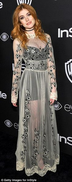 Kooky: Actresses Katherine McNamara slipped into a sheer full-length white gown for the ba...