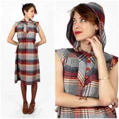 Vintage 1970s Red Gray Plaid Hooded Wool Dress by Tracy Petites | Small/Medium by AnimalHeadVintage on Etsy