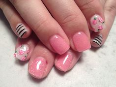 Pink roses and stripes