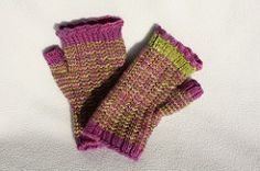The pattern includes asymmetric thumb gussets for better fit and uses the technique of stripey knitt Fingerless Gloves Knitted, Loom Weaving, Getting Things Done, Hand Warmers, Knitting Yarn, One Color, Mittens, Knitting Patterns, Ravelry