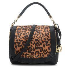 Best Michael Kors Stanthorpe Leopard Medium Black Shoulder Bags Popular In The World