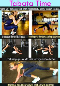 Quick and Effective! Check out these compound exercises to use in your next Tabata workout.  Via @LCCotter