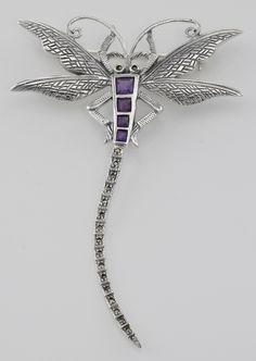 Sterling Silver Marcasite / Amethyst Dragonfly Brooch.