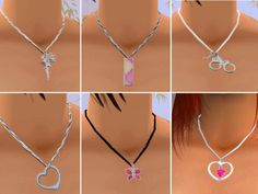 Mod The Sims - Six Cute Silver Necklaces