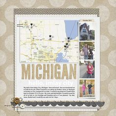 travel scrapbook page with map and photos