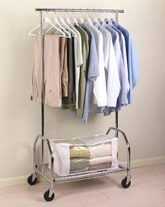 Sometimes the closet just doesn't cut it when it comes to space! Give your wardrobe a little breathing room with a heavy-duty garment rack.