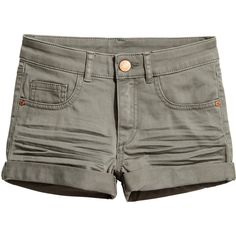 Twill Shorts $12.99 (£11) ❤ liked on Polyvore featuring shorts, short shorts, green shorts, short khaki shorts, twill shorts and khaki shorts
