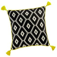 AMRELA cotton pompom cushion in black & white 45 x 45cm