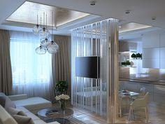 Зеркальная перегородка в гостиной - Дизайн интерьера квартиры г. Нижневартовск, ХМАО-Югра