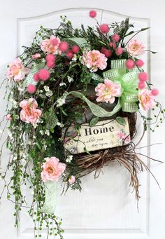 Country Home Wreath Front Door Wreath Spring by FloralsFromHome, $168.00