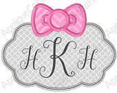 Kitty Bow Frame Applique Embroidery Design 4x4 5x7 6x10 Hello INSTANT DOWNLOAD