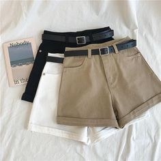 Stylist Tips: Style this cute shorts with your favourite tee and sneakers for an effortlessly cool and casual look. Fit/Detailing: True to size cotton Belt included Girls Fashion Clothes, Teen Fashion Outfits, Edgy Outfits, Cute Casual Outfits, Short Outfits, Outfits For Teens, Summer Outfits, Fashion Shorts, Emo Fashion