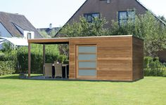Iroko Garden Shed with seating area