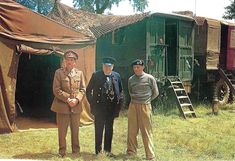 Monty's Caravan Field Marshal Sir Alan Brooke (Chief of the Imperial General Staff), Mr. Winston Churchill and General Sir Bernard Montgomery at 21 Army Group Headquarters in Normandy
