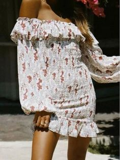 Hallow Dress - Floral - Dresses by Sabo Skirt Boho Mini Dress, Off Shoulder Fashion, Bodycon Dress Parties, Party Dresses, Daily Dress, Sabo Skirt, Casual Outfits, Dresses With Sleeves, Street Style
