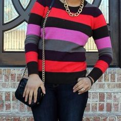 Old Navy Sweaters - Multicolored Striped Long Sleeve Sweater on Poshmark